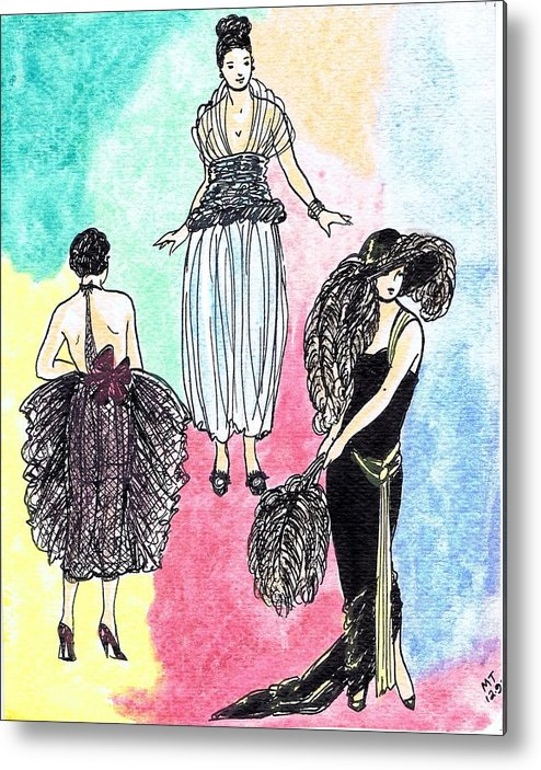 Nostalgia Metal Print featuring the drawing 1920s Gals 4 by Mel Thompson