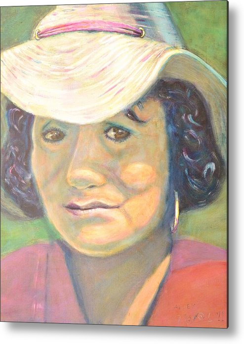 Portrait Metal Print featuring the painting Allie by Bob Rowell