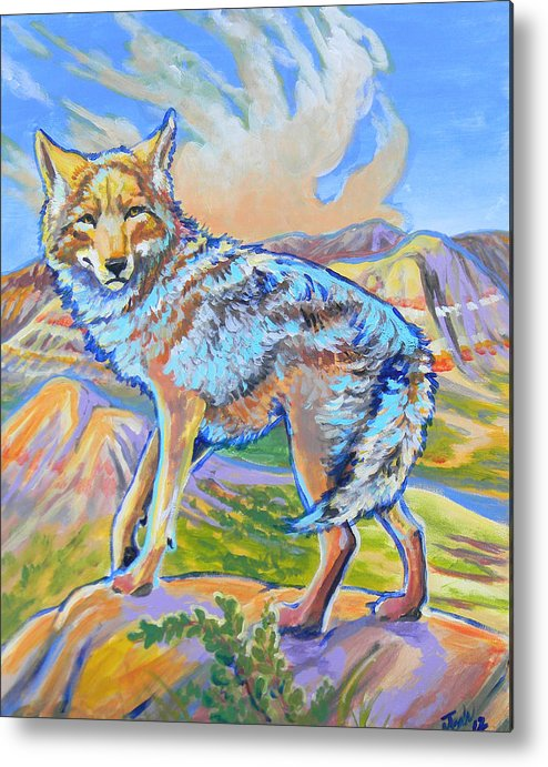 Coyote Metal Print featuring the painting Badland Coyote by Jenn Cunningham