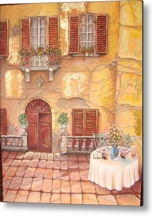 Inviting Lunch Table On A Stone Paved Sidewalk In Tuscany. Steps Leads Down To The Huge Solid Wooden Door Metal Print featuring the painting Devoted by Cecilia Putter