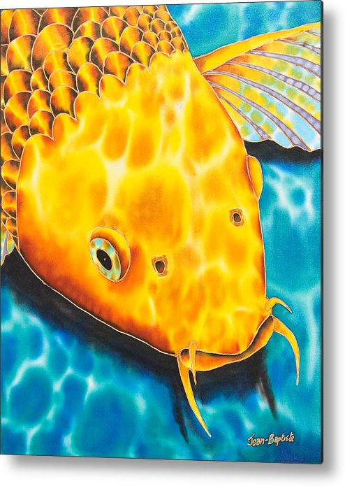 Fish Metal Print featuring the tapestry - textile Golden Koi by Daniel Jean-Baptiste