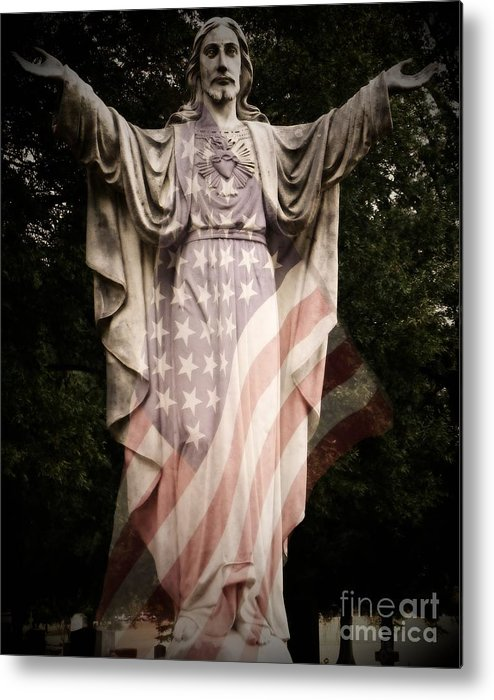 Statue Metal Print featuring the photograph One Nation Under God by Charleen Treasures