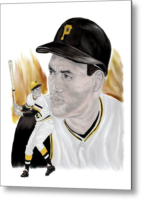 Roberto Clemente Metal Print featuring the painting Roberto Clemente by Steve Ramer