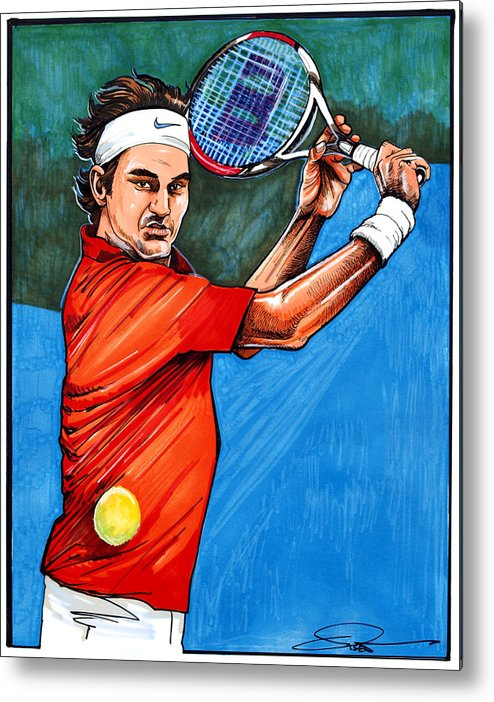Roger Federer Metal Print featuring the drawing Roger Federer by Dave Olsen