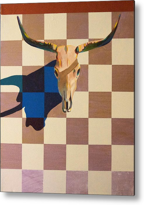 Steer Metal Print featuring the painting Steer Head by Barry Shereshevsky