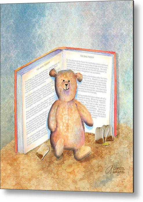 Teddy Bear Metal Print featuring the mixed media Tea Bag Teddy by Arline Wagner