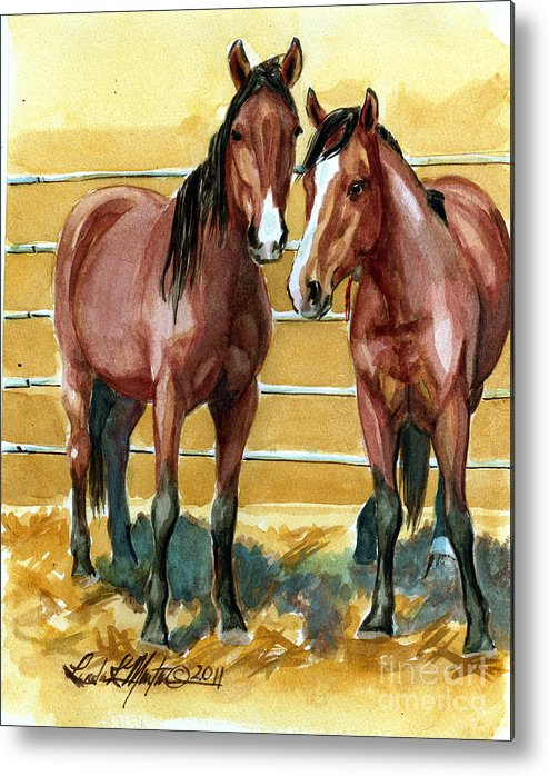 Mustang Metal Print featuring the painting Pick Up Day by Linda L Martin