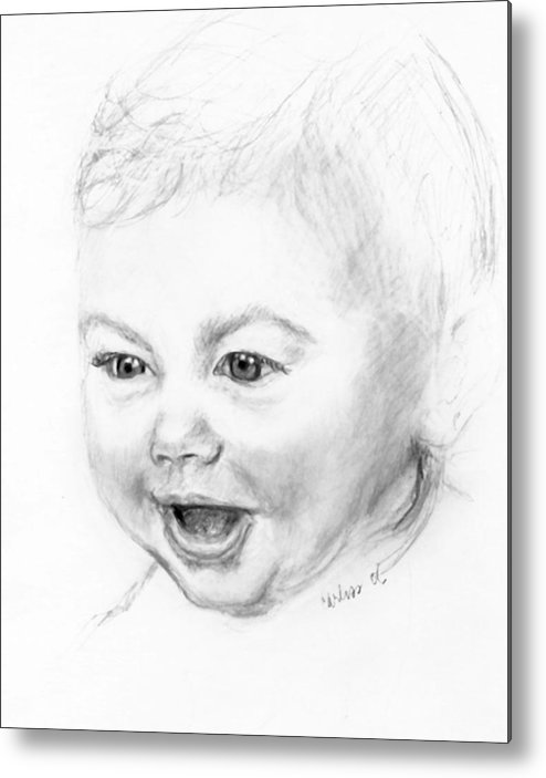 Baby Little Girl Baby Face Metal Print featuring the print So Excited by Carliss Mora