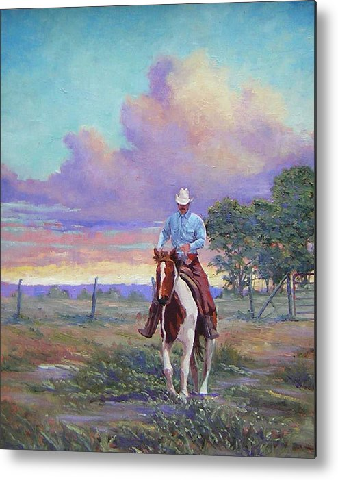 Landscape Metal Print featuring the painting 050617-1620  Today Is A One Man Job by Kenneth Shanika