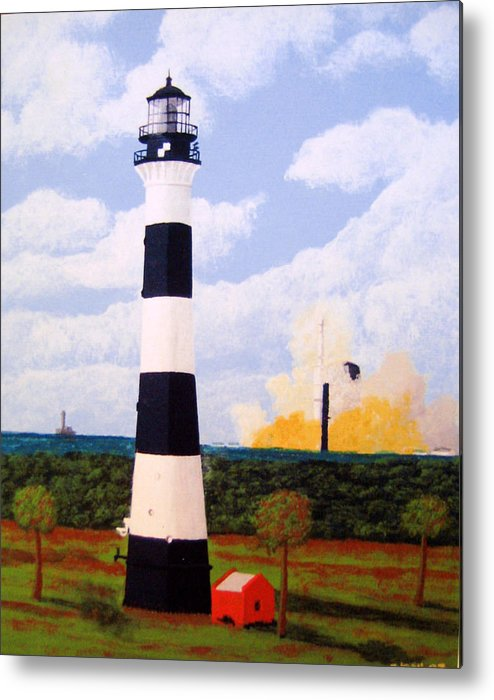 Lighthouse Paintings Metal Print featuring the painting Cape Canaveral Lighthouse by Frederic Kohli