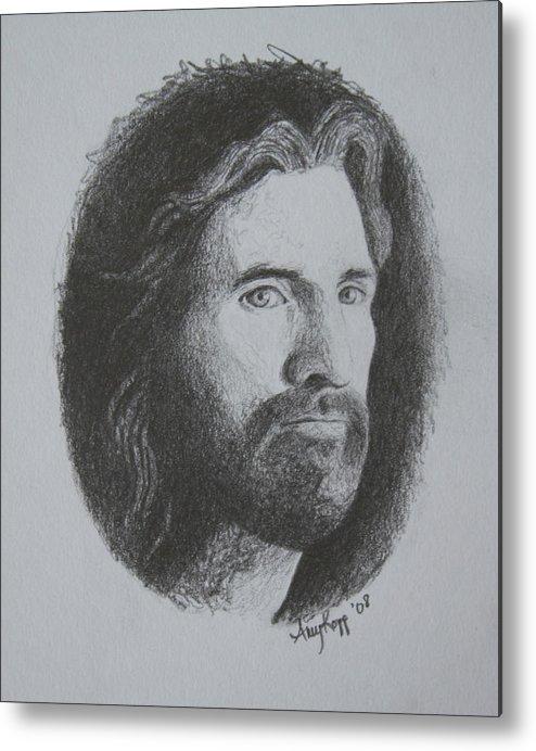 Portrait Metal Print featuring the print Jesus by Amy Parker