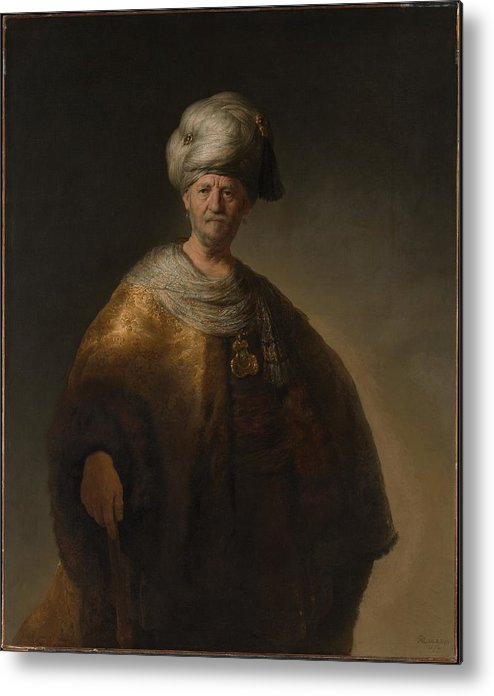 Rembrandt Man In Oriental Costume The Noble Slav Metal Print featuring the painting Man In Oriental Costume The Noble Slav by Rembrandt
