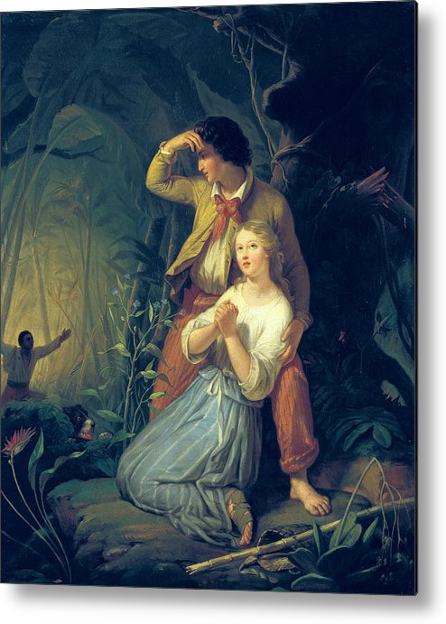 Paul Metal Print featuring the painting Paul And Virginie by French School