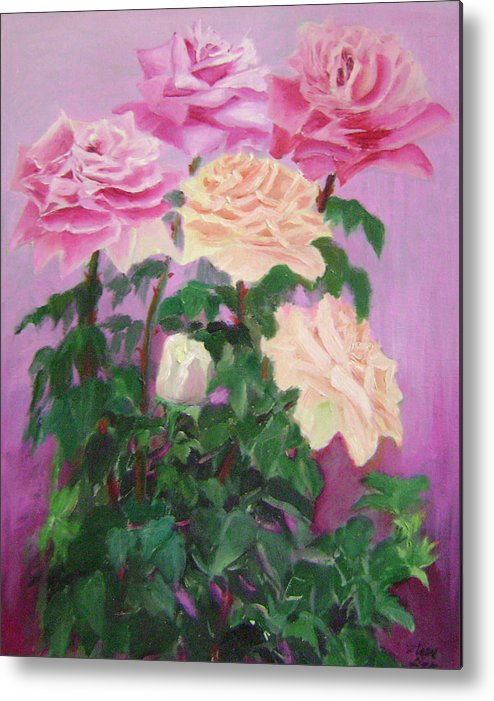 Abstract Metal Print featuring the painting Pink Romance by Lian Zhen