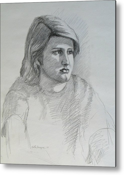 Boy Metal Print featuring the drawing Portrait Of A Boy by Keith Burgess