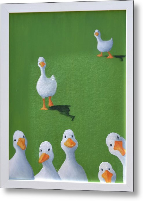 Ducks Metal Print featuring the painting Quackers by Sheryl Sutherland