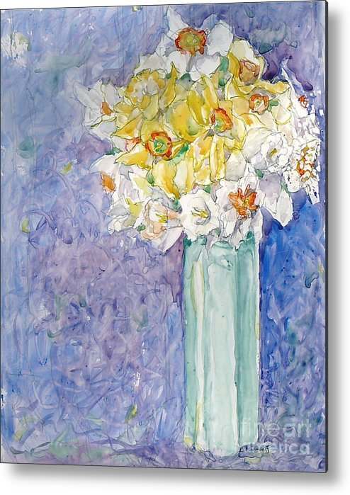 Watercolor Metal Print featuring the painting Spring Blossoms by Jan Bennicoff