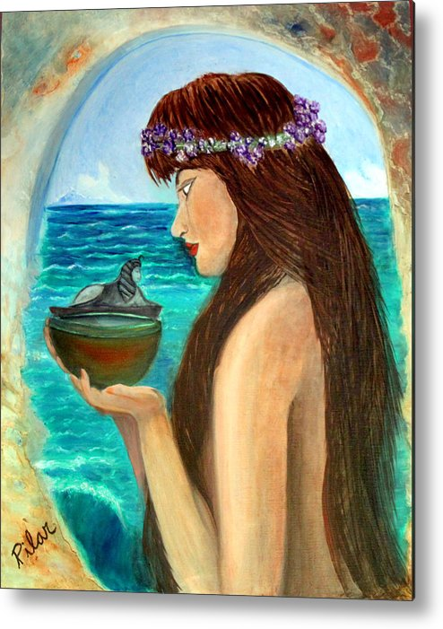 Metal Print featuring the painting The Mermaid And The Pandora Box by Pilar Martinez-Byrne