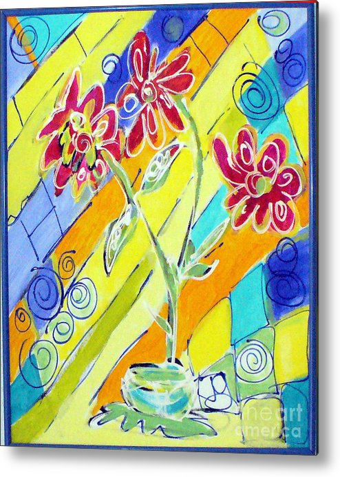 Vase Metal Print featuring the painting Vase by Joyce Goldin