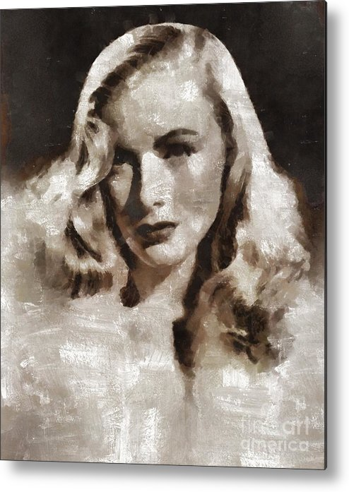 Metal Print featuring the painting Veronica Lake Vintage Hollywood Actress by Mary Bassett