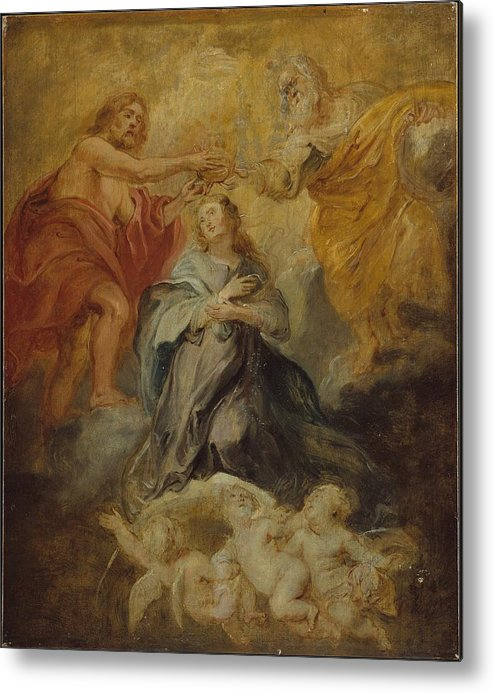 Peter Paul Rubens The Coronation Of The Virgin Metal Print featuring the painting The Coronation Of The Virgin by Peter Paul Rubens