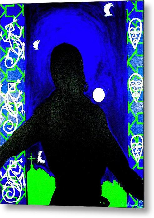 Malik Seneferu's Art Metal Print featuring the painting Uhuru Series by Malik Seneferu