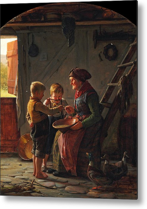 Carl Heinrich Bloch Metal Print featuring the painting A Meal. Two Boys And A Grandmother Tasting The Potato Soup by Carl Heinrich Bloch