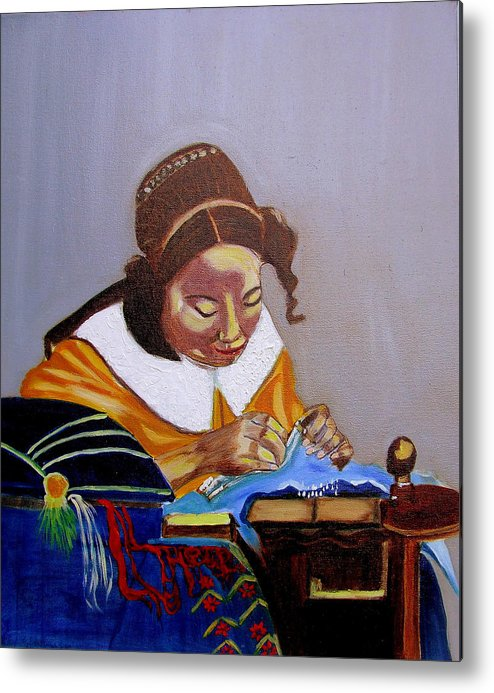 Pastiche Metal Print featuring the painting A Tribute To Vermeer The Lacemaker by Rusty Gladdish