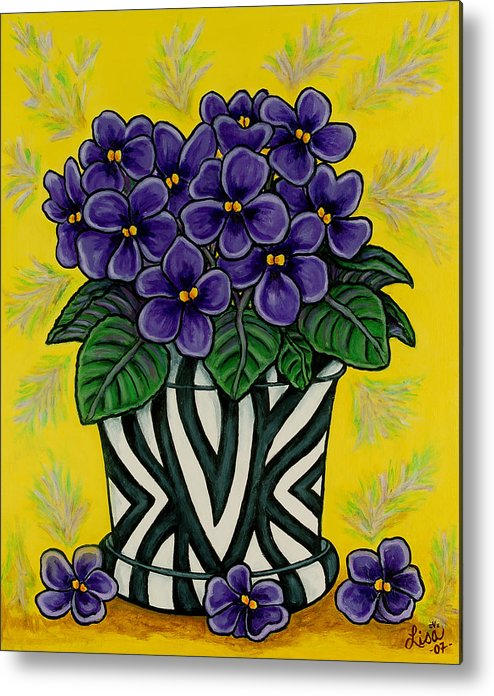 Violets Metal Print featuring the painting African Queen by Lisa Lorenz