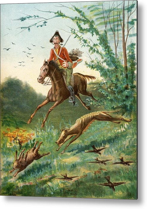 Munchausen Metal Print featuring the drawing Anecdote Of The Hare With Eight Legs by Vintage Design Pics