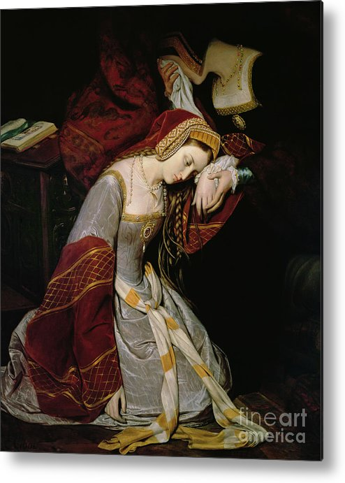 Anne Metal Print featuring the painting Anne Boleyn In The Tower by Edouard Cibot