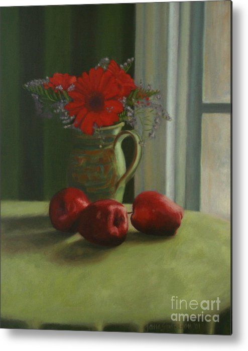 Apples Metal Print featuring the painting Apples And Gerbers by Jane Simonson