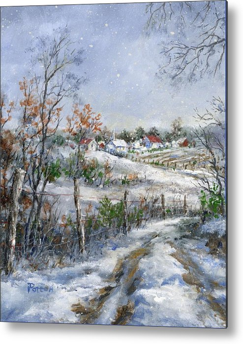 Snowfall Metal Print featuring the painting Around The Bend Sold by Virginia Potter