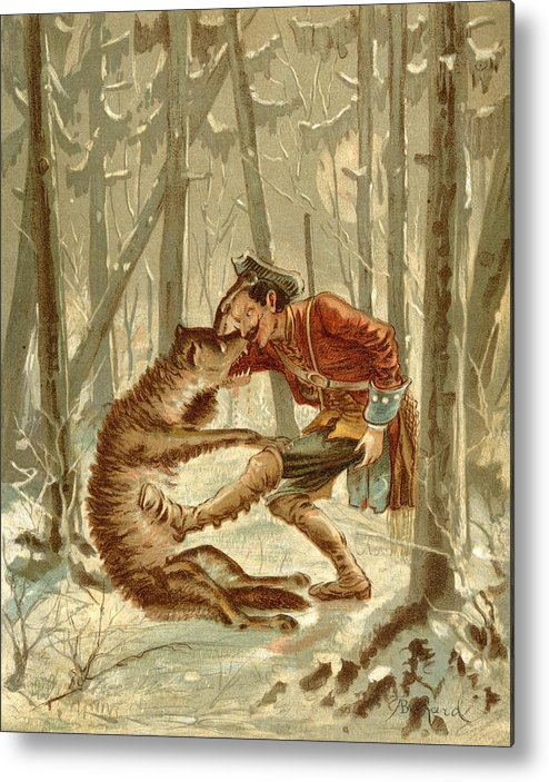Munchausen Metal Print featuring the drawing Baron Munchausens Encounter With A Wolf by Vintage Design Pics
