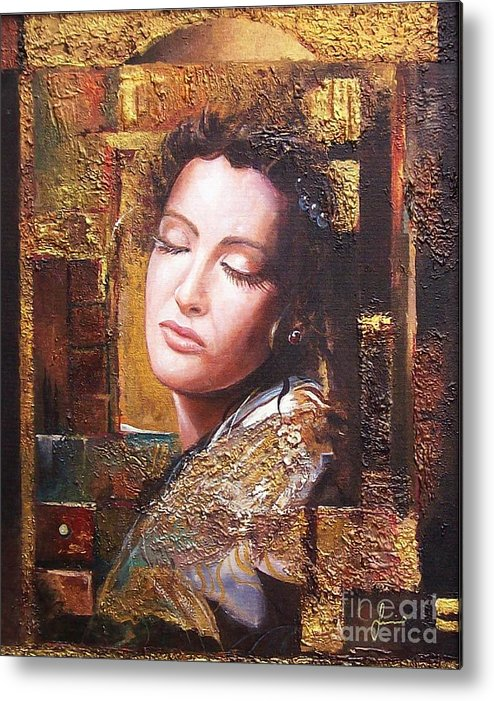Female Portrait Metal Print featuring the painting Because You Are Beautiful by Sinisa Saratlic