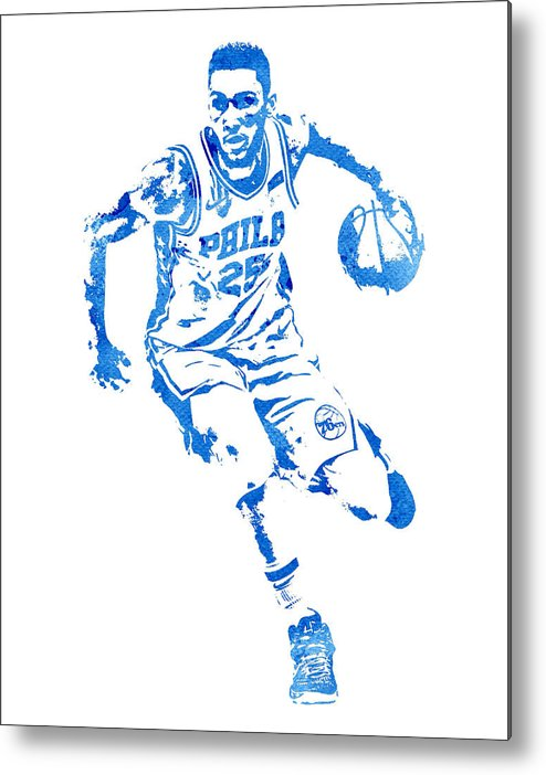 Ben Simmons Metal Print featuring the mixed media Ben Simmons Philadelphia  76ers Water Color Pixel Art e372c72a2