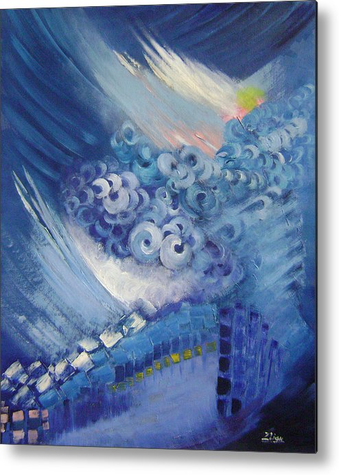Abstract Metal Print featuring the painting Blue Concerto 2 by Lian Zhen