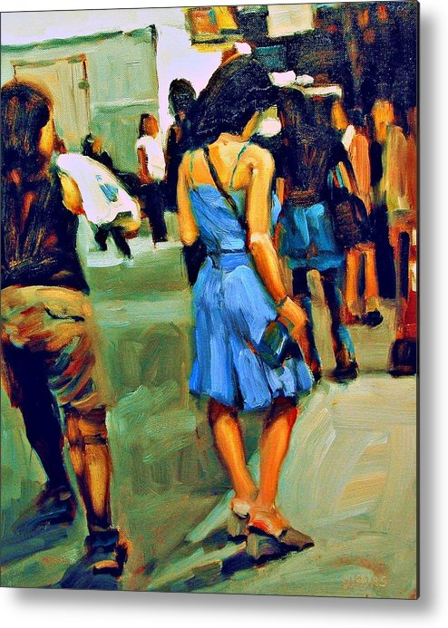 Landscape Metal Print featuring the painting Blue Dress by Brian Simons