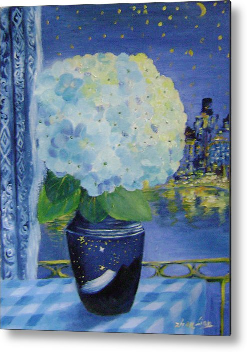 Flroal Metal Print featuring the painting Blue Night by Lian Zhen