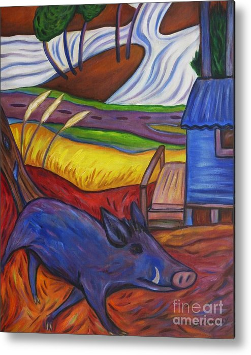 Blue Metal Print featuring the painting Blue Pig By Blue Hut by Dianne Connolly