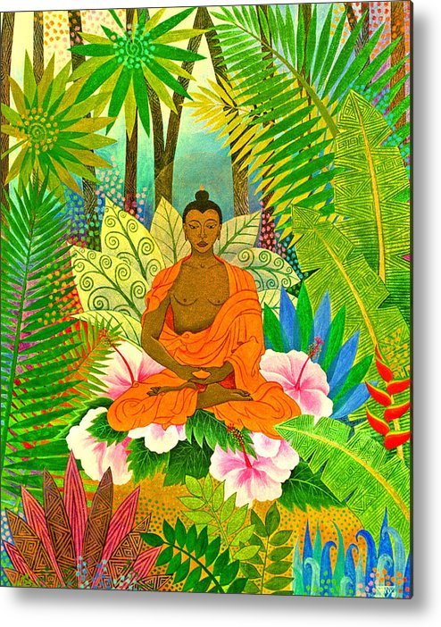Buddha Meditation Spirtual Forest Tropical Enlightenment Metal Print featuring the painting Buddha In The Jungle by Jennifer Baird