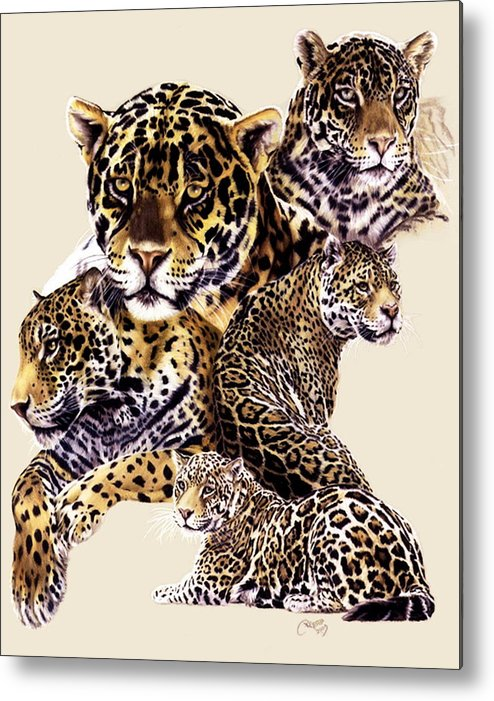 Jaguar Metal Print featuring the drawing Burn by Barbara Keith