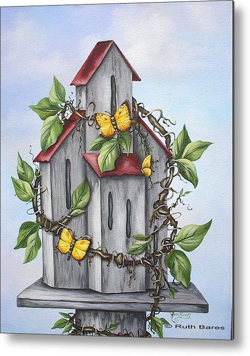 Butterflies Metal Print featuring the painting Butterfly House by Ruth Bares