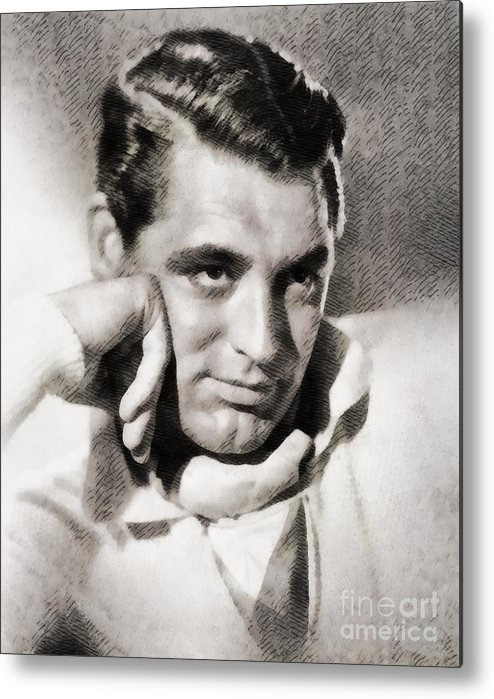 Hollywood Metal Print featuring the painting Cary Grant, Hollywood Legend By John Springfield by John Springfield