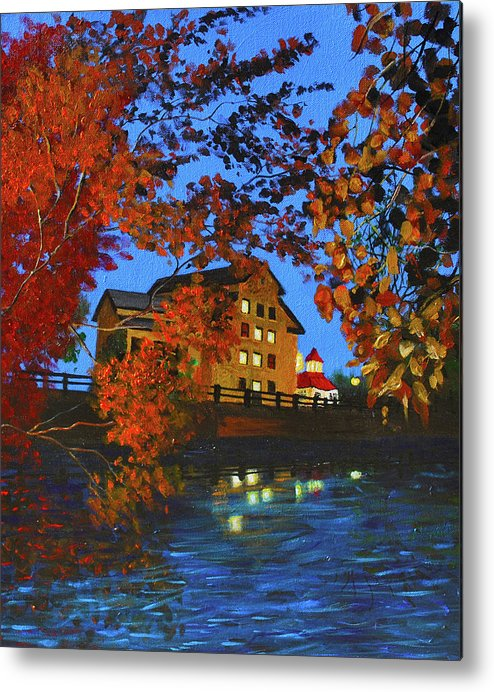 Metal Print featuring the painting Cedarburg Mill At Night by Haley Grebe