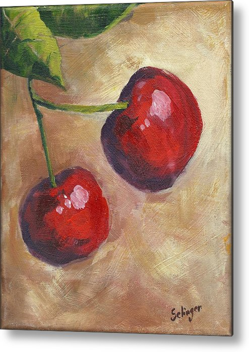 Cherries Metal Print featuring the painting Cherry Duo by Kathie Selinger