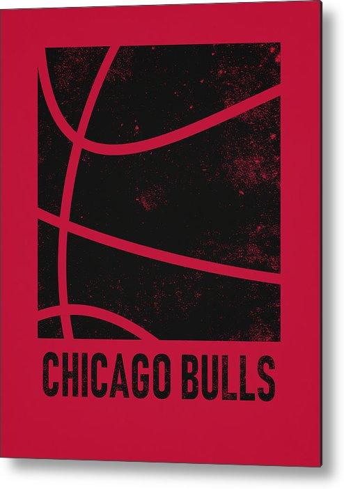 Bulls Metal Print featuring the mixed media Chicago Bulls City Poster Art 2 by Joe Hamilton