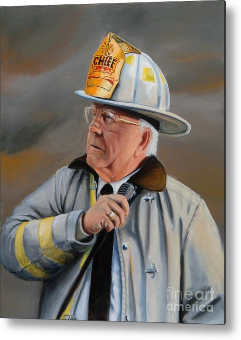 Fire Chief Metal Print featuring the painting Command by Paul Walsh