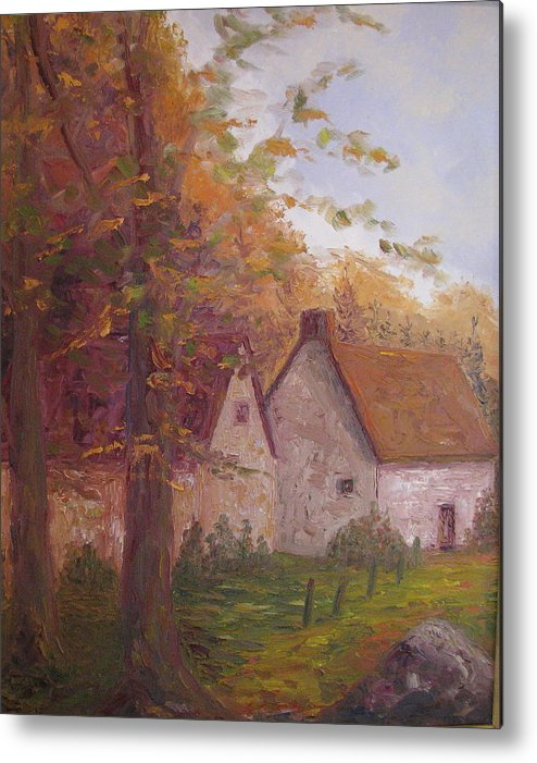 Landscape Metal Print featuring the painting Cottage On The Moors by Belinda Consten