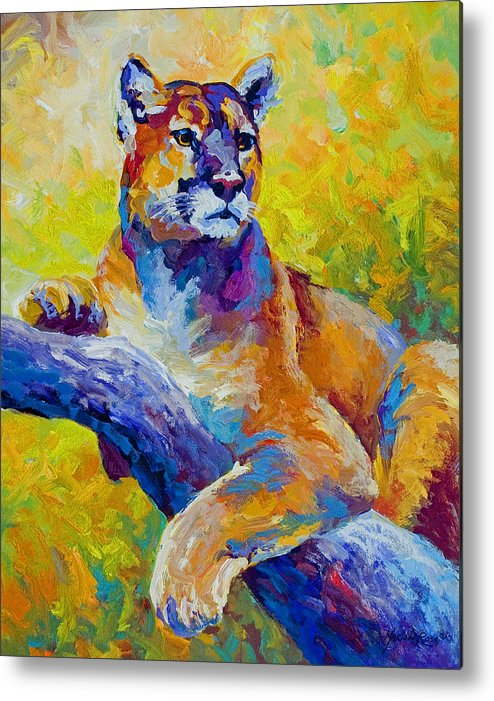 Mountain Lion Metal Print featuring the painting Cougar Portrait I by Marion Rose